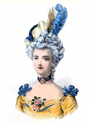 Coiffure Louis XV. 18ème siècle. La mode le rococo.