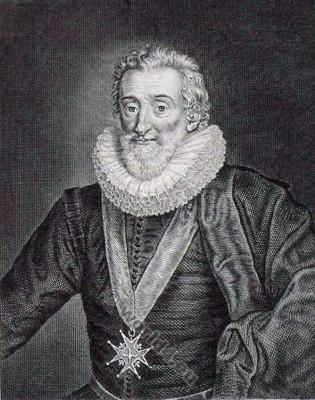Henry IV. King of France. Henry IV of Navarre. Henry of Bourbon. La mode baroque. 17ème siècle costume.