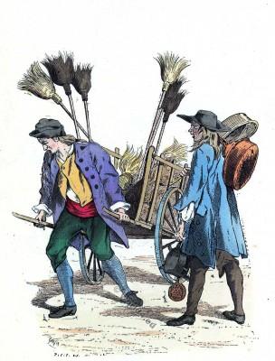 Marchand de balais. Chaudronnier. Histoire de la mode baroque. 16ème siècle costumes.