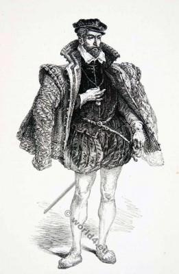Gaspard II. De Coligny, Comte de Coligny. Huguenot leader. 16th century. Huguenot wars France. Renaissance fashion history.