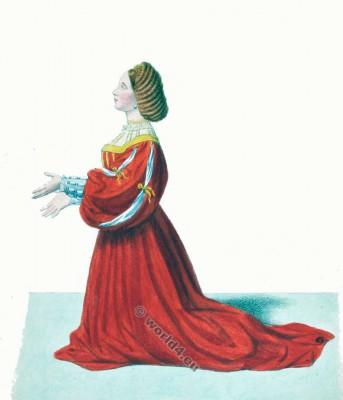 Costume Milan. Italy. Medieval fashion 14th century. Gothic costumes. Burgundian fashion.