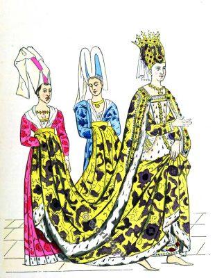 Isabeau de Bavière. La mode du moyen âge. Vêtements du 14ème siècle. Reine française du Moyen Age