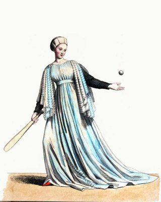Jeu de Paume. Jeu de balle Mediaeval. Costume du 13ème siècle. Robe Bourgogne. Robe gothique. Âges histoire du Moyen costume.