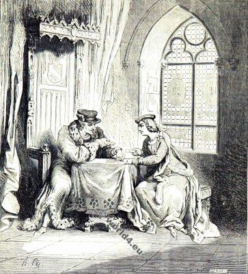 Odette de Champdivers. La Petite Reine. Maîtresse et Charles VI. La mode du moyen âge. Vêtements du 14ème siècle.