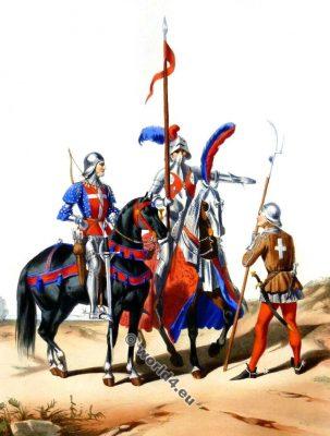 Costumes militaires francais. Compagnies d'Ordonnance. 15ème siècle. Archer. Homme d'Armes. Coustillier. La mode du moyen âge.