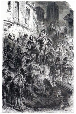 Henri III., Guerres de Religions. Barricades, Paris. 16e siecle. Huguenot wars France. Renaissance fashion history.