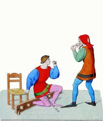 Torture au Moyen Age. Italie vêtements du 13ème siècle.