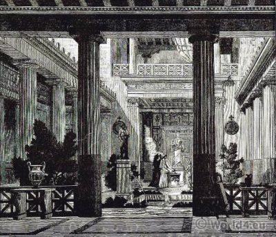Aula with Praestas. Ancient Greek Interior.