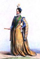 Costume Dame française du temps de Henri III. Achille Devéria. Mode Renaissance au 16ème siècle.