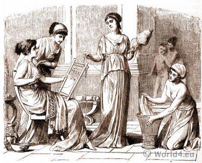Ordinary Greek dress. Ancient greek costumes.