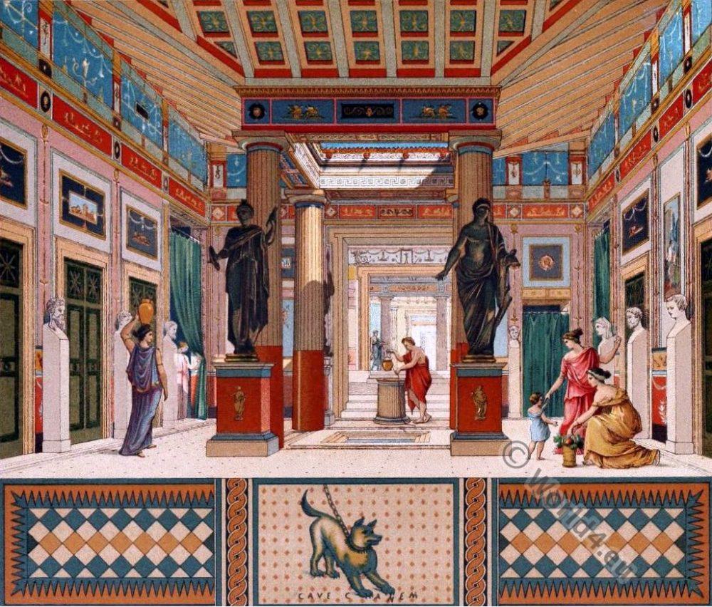 Pompeii house. Auguste Racinet. una casa en Ponpeya. Roman Ancient architecture.