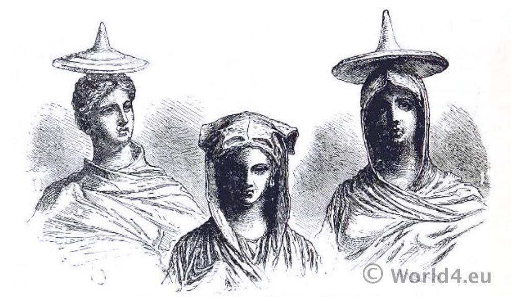 Head-Dresses. Tanagra Figurines. Ancient Greek fashion.