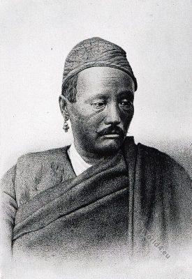Indian tribe. Male Limbu. India native. Turanian race. Costumes