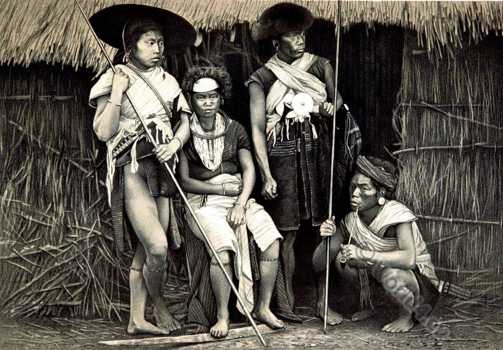 India Tribe Mizhu. Mizu. Bengal. Mishmis. Tribal Costumes. 19th century