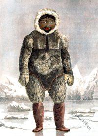 Greenland. Ervick, Inuit. Native, Arctic, Highlander, Prince Regents Bay, Dress, Costume, glaciers, ice, parkas, fur,