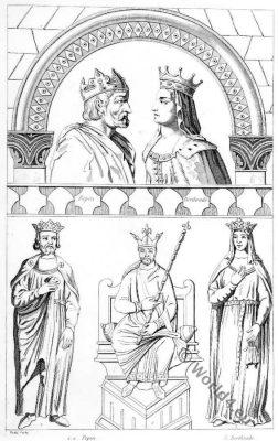 Pepin the Short, Bertrada of Laon, Merovingian, Franks, Queen, King
