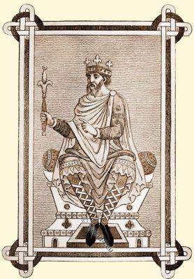 Saxon monarch. Anglo-Saxon, costume, history, England medieval fashion