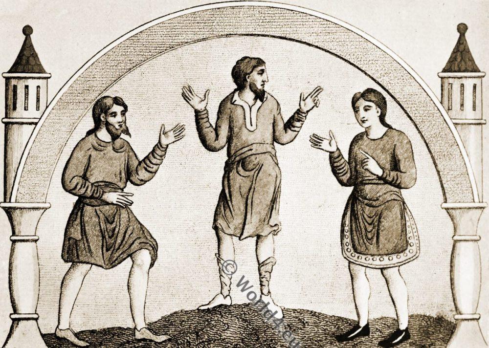 Saxon tunica, Anglo-Saxon, costume, history, England medieval fashion