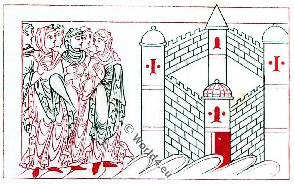 9th century, Anglo-Saxon, dresses, costumes, history, england, Psychomachia, Prudentius