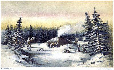 winter lodges, Native American, Native indian, Gwich'in, Gwitchin, Saviah, Alaska, Kutchin, Kutcha-Kutchi
