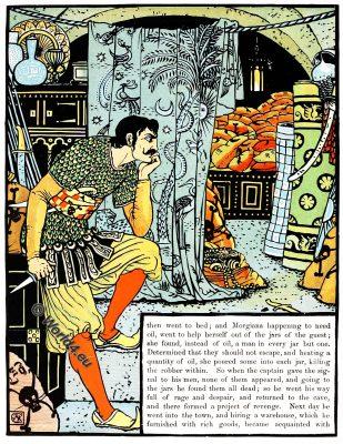 Ali Baba, Walter Crane, Children's Books, Fairy Tales, Folk Tales, Myths, illustrator, Art Nouveau, Arts and Crafts Movement