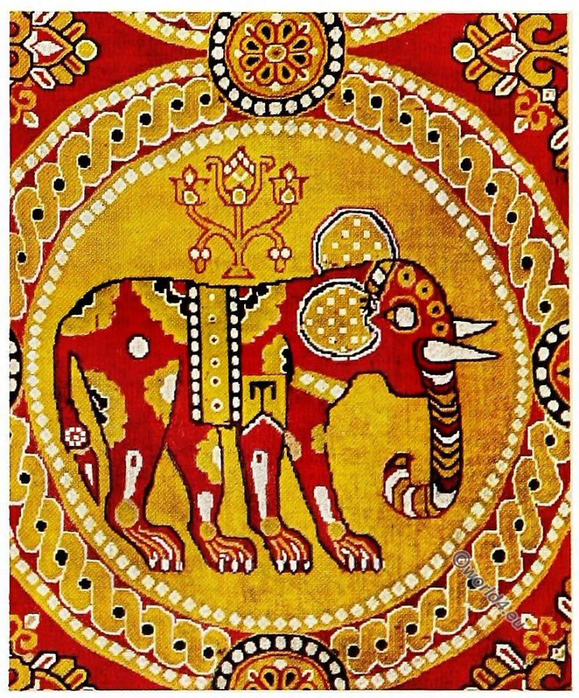 elephant pattern, Antique, Fabric, Silk, Pattern, Sassanid, Persia,