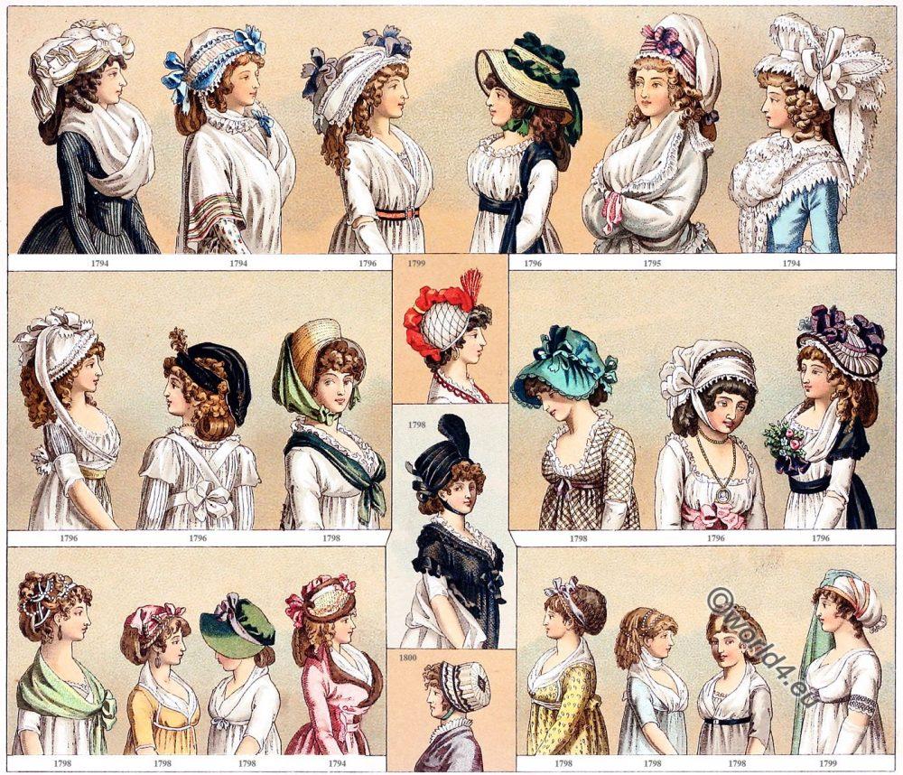 Costumes, Directoire, Empire, Regency, fashion, history, Auguste Racinet