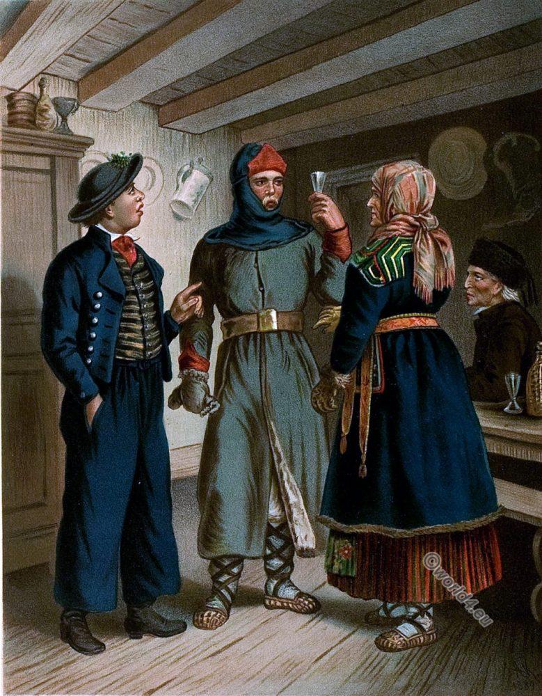 Lithuania, traditional folk, costumes, 19th century, Albert Kretschmer