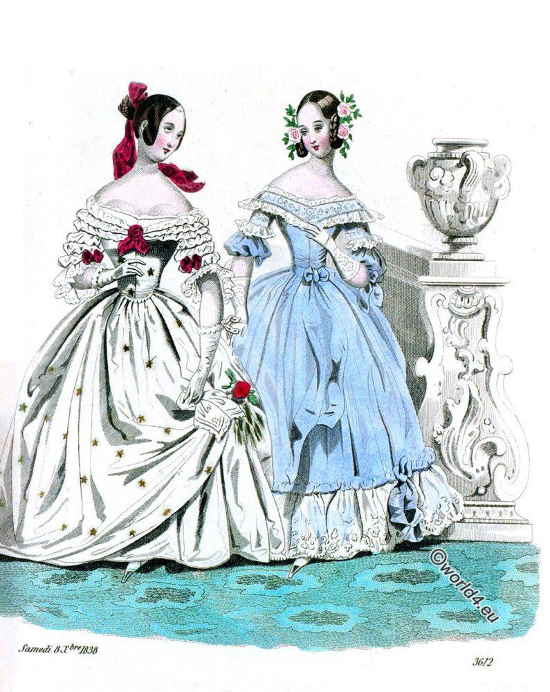 Costumes, Parisiens, Journal, Dames, Modes, Robe, Coiffure, Romantic, fashion