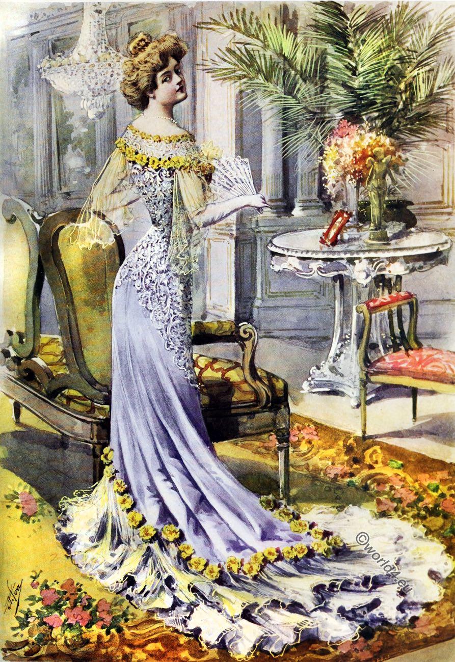 Victorian, Costume, Court Chronicle, Paris fashions, Toilette de Réception