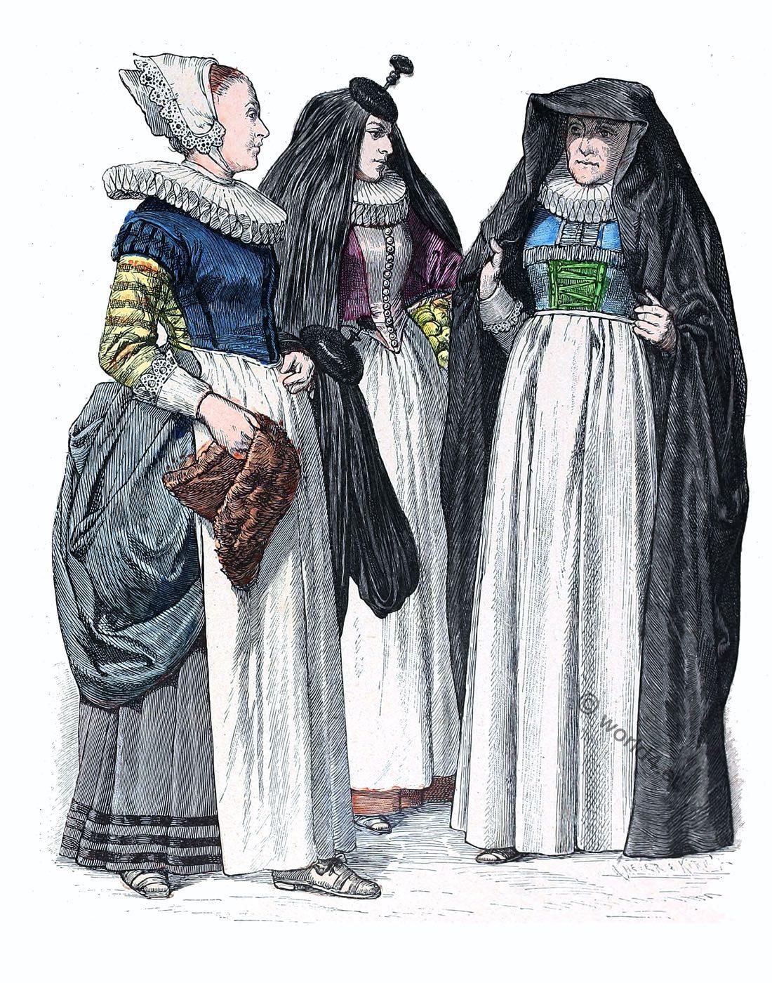 Baroque, fashion, Germany, 17th century, Matron, maid, citizen,