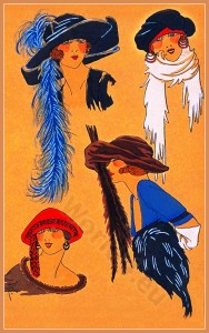 Creation Lewis. Art deco era headdresses. Cloche hats, Flapper, Gatsby fashion.