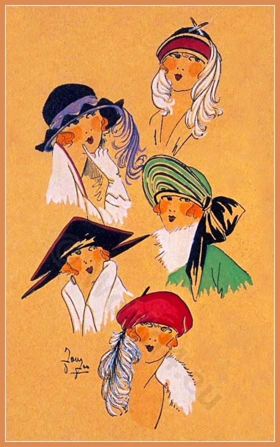 Nouveau, Chapeaux, Parisien, art deco, fashion, mode,