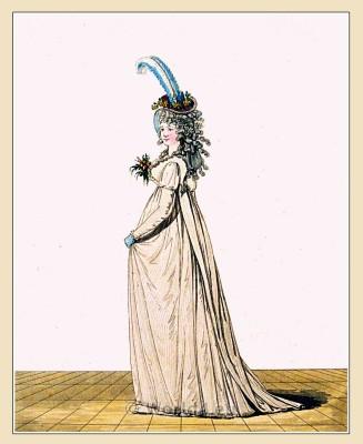 Regency robe and petticoat. Gallery of Fashion. England Georgian, Regency era fashion. Neoclassical costumes.