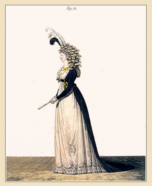 Heideloff, Regency, Neoclassical, Gallery, Fashion, Costumes, mourning, dressing