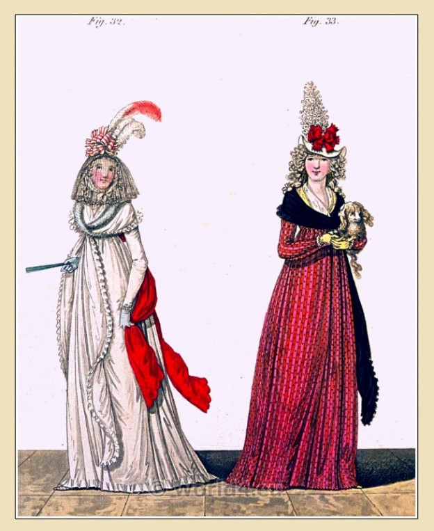 Gown, India dimity, Heideloff, Jane Austen, Regency, Neoclassical, Gallery, Fashion, Costumes,