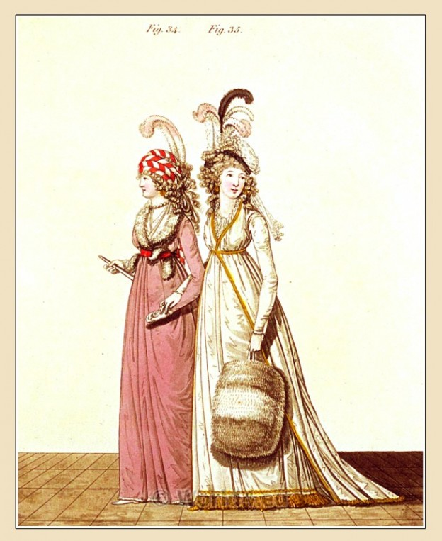 Turban, Coquelicot, Petticoat, robe, Heideloff, Austen, Regency, Neoclassical, Gallery, Fashion, Costumes, dressing