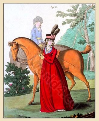 Riding dress, beaver hat,