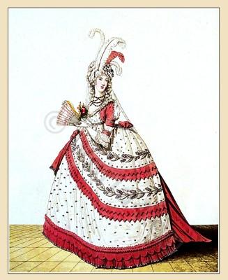 England Court Dress July 1795. Georgian period. Regency costumes era.