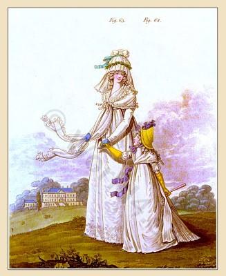 Heideloff The Gallery of Fashion August 1795.. England Georgian period. Regency costumes. Jane Austen clothing.