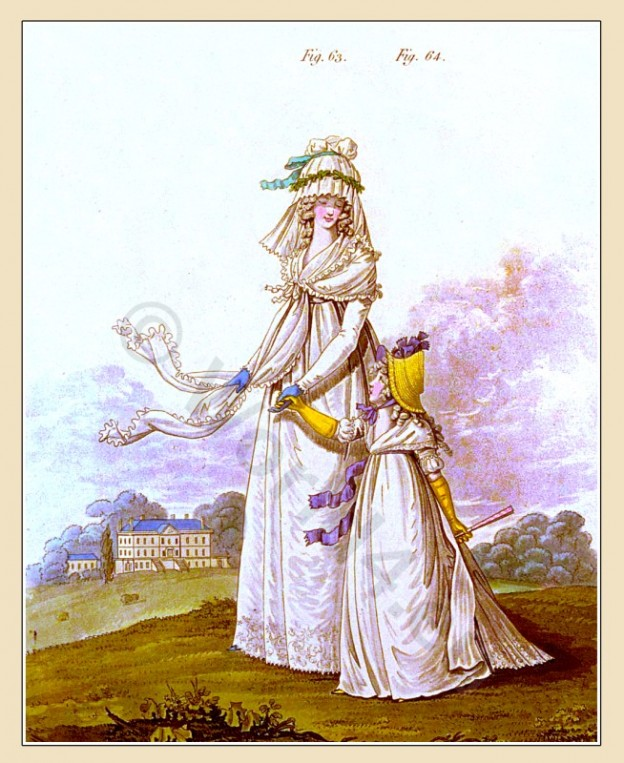 Brunswick, robe, Cottage, gipsy, straw bonnet, Heideloff, Austen, Regency, Neoclassical, Gallery, Fashion, Costumes,