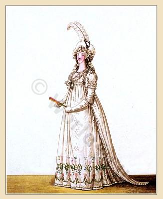 Robe, petticoat, satin, muslin, Heideloff, Austen, Regency, Neoclassical, Gallery, Fashion, Costumes,