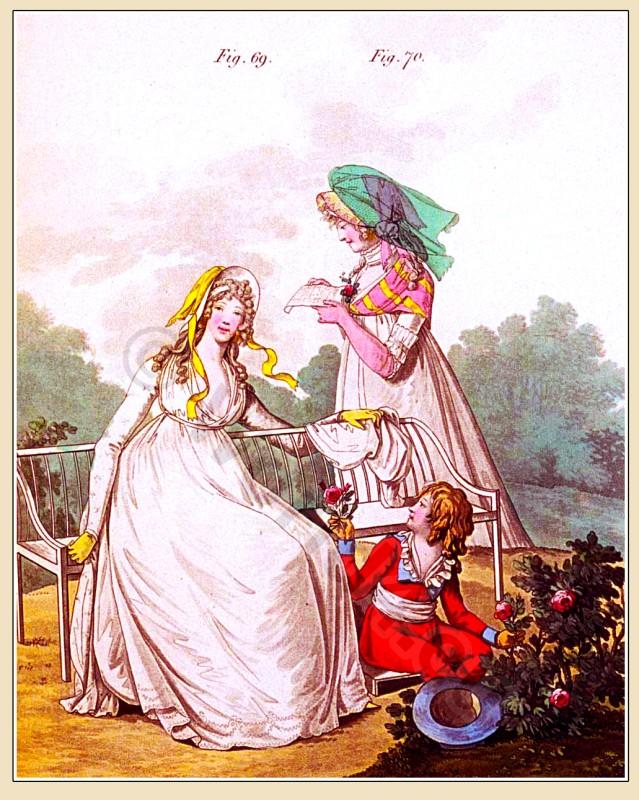 Petticoat, muslin, gown, curls, Heideloff, Austen, Regency, Neoclassical, Gallery, Fashion, Costumes,