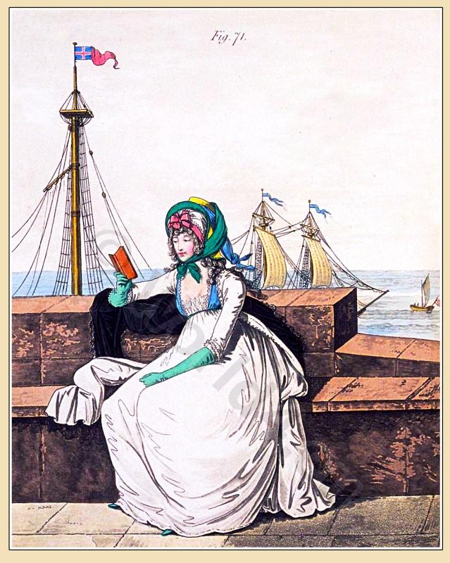 Petticoat, Robe, muslin, Straw hat, Heideloff, Austen, Regency, Neoclassical, Gallery, Fashion, Costumes,