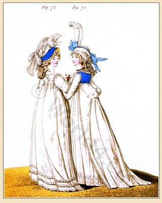 India muslin, Dresses, Heideloff, Jane Austen, Regency, Neoclassical, Gallery, Fashion, Costumes,