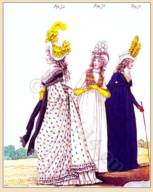 Heideloff, Austen, Regency, Neoclassical, Gallery, Fashion, Costumes, gown, satin, cloak, Riding, dress, Caroline hat,