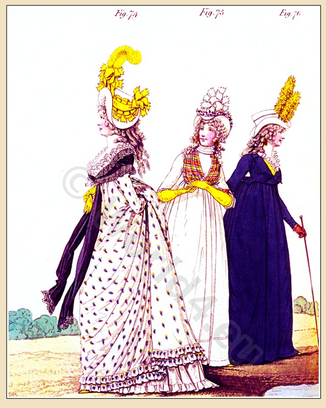 Heideloff, Austen, Regency, Neoclassical, Gallery, Fashion, Costumes, gown, satin, cloak, Riding, dress, Caroline hat,
