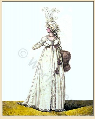petticoat, Robe, muslin, satin, ostrich feathers, Heideloff, Austen, Regency, Neoclassical, Gallery, Fashion, Costumes,