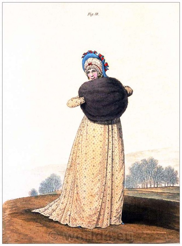 Round gown, salmon-color, Heideloff, Austen, Regency, Neoclassical, Gallery, Fashion, Costumes,