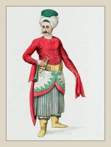 Domestic. Turkish Servant. Grand Vizier Ottoman Empire. Historical Turkish costumes.
